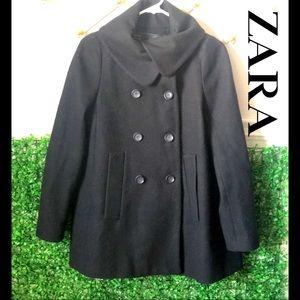 Zara Basic Black wool pea coat